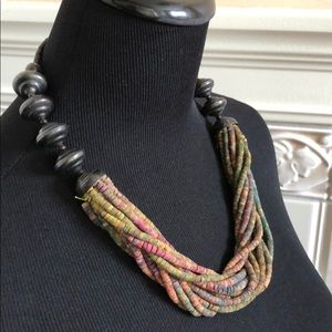 """Mult Strand Colorful Wood Beaded Necklace 22"""""""